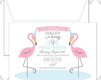 Flamingo Invite, Flamingos Party, Pink Flamingo Birthday Invitation, Pool Party Invite, Pool Party Birthday, Pink Flamingos Invitation