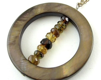 Mocha Mother-of-Pearl Circle & Citrine, Yellow Quartz Beads Pendant - G.F. Necklace