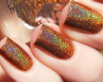 """Nail polish - """"On The Bench"""" caramel brown linear holographic polish with gold holo glitter"""