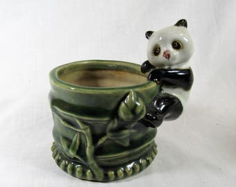 Vintage Panda Bamboo Planter - Pottery - Succulent Planter - Flower Pot