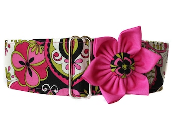 Martingale Collar and Flower, Pink Martingale Collar and Collar Flower, Pink Dog Collar, Greyhound Martingale Collar, Dog Collar Flower