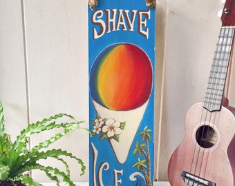 Vintage Shave Ice Sign - Hawaiian Shave Ice Vintage Wood Sign with Palm Trees, Waves and Manila Rope Hanger