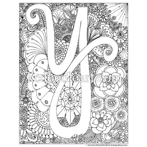 Letter Y Coloring Pages: Instant Digital Download Letter Y Adult Coloring Page