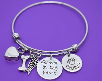 Urn - Cremation Pet Memorial Jewelry - Dog Memorial Bracelet - Pet Loss Gift - Forever in my heart - In memory of dog