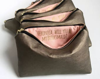Will You Be My Bridesmaid Gift. Personalized Secret Message Makeup Bag.