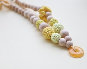 Yellow crochet necklace.  Nursing teething necklace with natural gemstone.