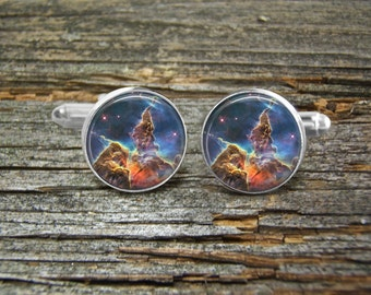 Nebula Fantasy Mountain NASA Hubble Space Cufflinks-Wedding-Jewelry Box-Silver-Keepsake-Man gift-Astronomy-Graduation-Men-History-Science