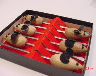 6 Vintage Teak Wood Mice Cheese Pixies In Original Package  17 - 240