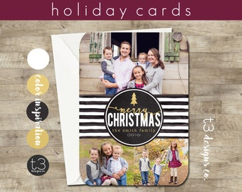 3 Photo Holiday Card, Photo Christmas Card, faux gold holiday card, Black and white stripe, Christmas Card Template, watercolor Christmas