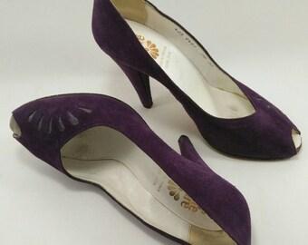 Purple peep toe pumps, peep-toe heels, vintage purple heels