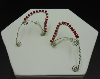 Beaded Elf Ears -  Red and Silver