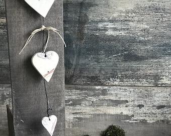 Height 32 cm ceramic stoneware heart Garland