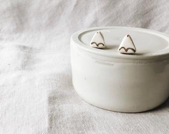 White Peaks Ceramic Stud Earrings