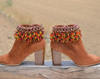Sale............30% off........ETHNIC brown SUEDE BOOTS with heel