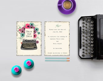 Vintage Save The Date Cards / Vintage Typewriter with Flowers / PRINTED 5x7 Save-The-Date Card