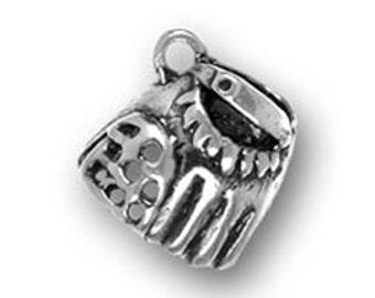 5 Silver Baseball Glove Charm 3D Softball Pendant 12x12mm by TIJC SP0463