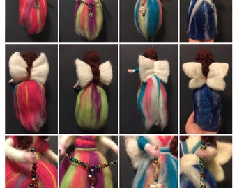 Customised Magical Needle Felted Waldorf Style Fairy with your choice of colours, beads, charms.