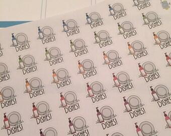 42 Dishes Chore Cleaning Vertical Horizontal Stickers Erin Condren Life Planner ECLP Plum Paper PPP Reminder Sticker LDD1426