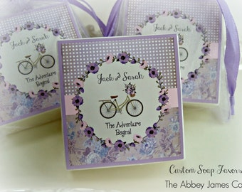 Custom Soap Favors, Shower Favors, Couples Shower, Bridal Shower Favors, Party Favors, set of 10 country bike theme