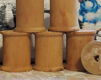 seven grubby stained vintage primitive regular wooden wood spools thread sewing room decor display empty craft supply art prim coffee stain