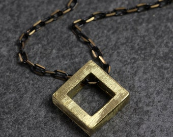 Brass Diamond Block Necklace