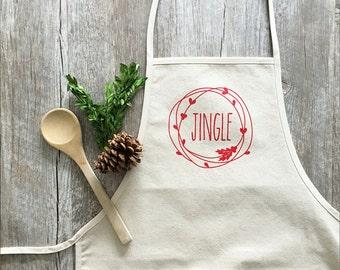 Christmas Apron Jingle Apron Holiday Baking Cotton Canvas Full Apron Christmas Baking Cooking Gourmet Gift Rustic Christmas