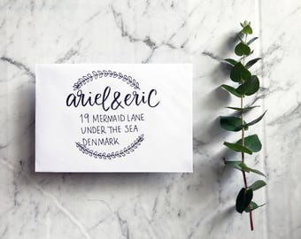 Custom, Calligraphy and Hand Drawn Botanical Envelope