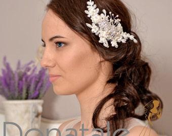 Bridal hair comb Wedding hair comb Bridal Hair Accessory Hair comb Lace hair comb Wedding hair piece - CLAUDINE