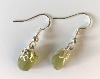 Delicate pale green sea glass earrings