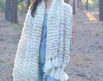 Sedona Serenity Shawl Pattern, Easy Knit Shawl Pattern, Blanket Scarf Pattern, Beginner Knitting Pattern, Simple Shawl, White Shawl, Cream