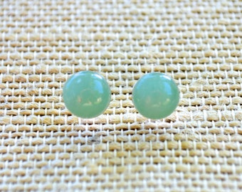 Green Aventurine Gemstones . Studs . Small . Earrings