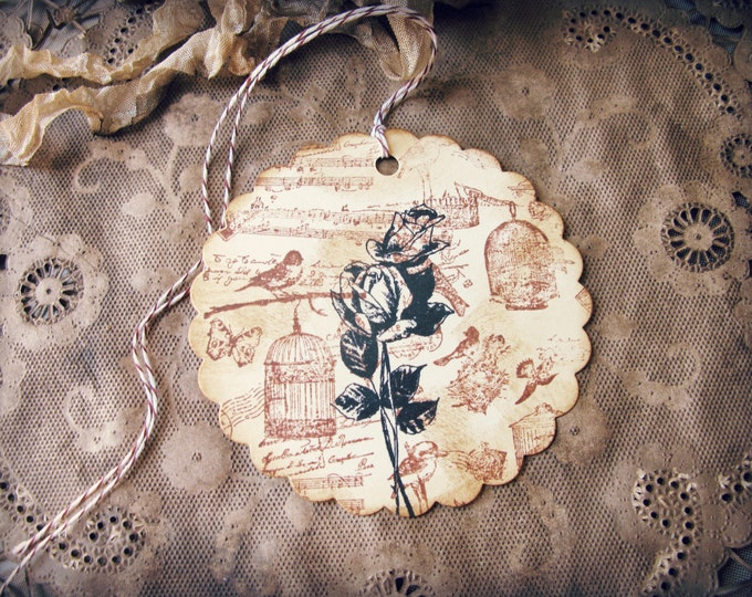 Round Gift Tags, Vintage Bird and Rose Design, Hand Stamped, Aged, Sepia, Black Rose, Scalloped Edge, set of 6