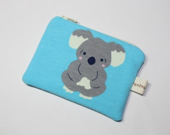 Coin purse, change purse, turquoise blue with koala