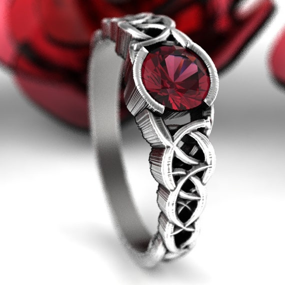Celtic Wedding Ring With Garnet and Dara Knotwork Design in Sterling Silver, Made in Your Size CR-430