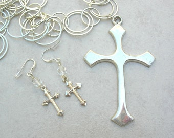 Sterling Silver Crosses, Large Detachable Cross Pendant, Cross  Earrings,Silver Link Chain,Versatile Statement Necklace Set by SandraDesigns