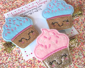 Hair Clip Glitter Cupcake Birthday smile face gift topper 1 CLIP You choose pink or blue gold sparkle girls kids party favor accessories