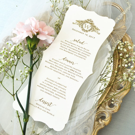 25 Pack of Fancy Cut Wedding Menu on Ivory Shimmer Card Stock with Gold Writing and Logo - Custom Colors Available