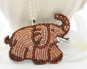 Beaded Elephant Pendant Necklace  - Kara the Chocolate Beaded Elephant Necklace - Elephant Jewelry