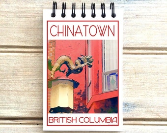 Chinatown Vancouver B.C. - Love This Place - Cityscape Notebook Notepad - Custom Gift Canada The Jitterbug Shop Journal