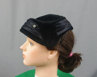50s Black Velvet Hat, Rhinestone Hat, Church Hat, Winter Hat, 1950s Hat, Black Hat,