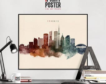 Toronto art print, Toronto poster, Toronto wall art, Toronto skyline watercolour print, travel poster, home decor, gift, iPrintPoster