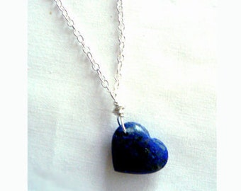 Chic heart lapis gemstone pendant- Boho blue stone pendant- Lapis lazuli sterling silver wire wrapped heart necklace- Romantic women gifts