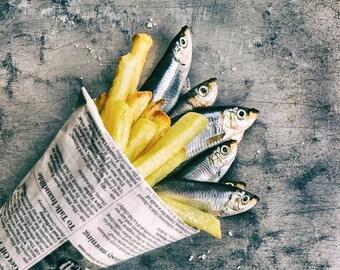 Food Art Photography, Fish & Chips landscape photography print - Original fine art photography by Cath Lowe