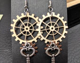 Steampunk Earrings, Steampunk, Steampunk jewelry, Gear earrings, Gear Jewelry, Industrial, Gothic, Victorian Key earrings, Key Jewelry,