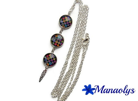 Necklace silver multicolored patterns, Cabochon glass and silver feather 413