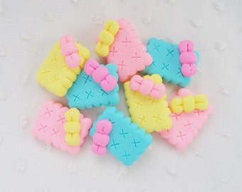 6pcs - Neon Clay Biscuit Clay Cookies Mix Decoden Cabochon (30x26mm) CKE022
