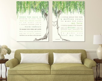 Wedding Song Lyrics, Willow Anniversary, Wedding Gift, Custom Wedding Art, Willow  Tree
