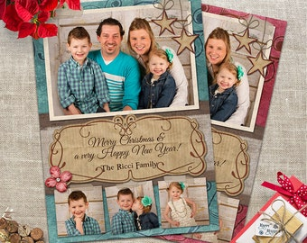 Shabby Chic Christmas Photo Card -  4 Photo layout -Rustic Merry Christmas - Custom & Personalized