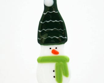 Glassworks Northwest - Snowman with the Green Hat and Lime Scarf - Fused Glass Ornament