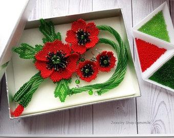 Flower poppy jewelry Red poppy necklace Poppy earrings Seed bead necklace Red flower beaded necklace Poppy flower gift Ukraine jewelry gift
